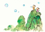 Children blowing bubbles off the top of a mountain