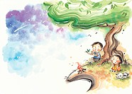 A little boy playing a flute with a little girl and a dog under a tree at night