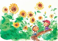 Kids walking through a in sunflower field