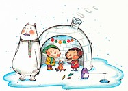 Children cooking fish in an igloo with a polar bear and penguin