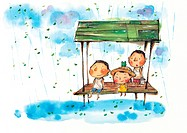 Children sitting on a bench in the rain