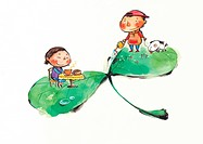 Children playing on a leaf