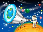 Boy dressed as astronaut looking at telescope (thumbnail)