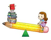 Girl sitting on a pencil shaped see saw with a stack of books