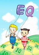 Children holding EQ balloons walking on an IQ path