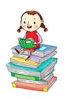 A little girl reading a book, sitting on a stack of books