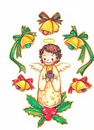 Angel standing on holly surrounded by Christmas bells