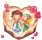 A girl kissing a boy on a heart shaped valentines cake