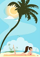 A woman sun tanning under a palm tree on a beach