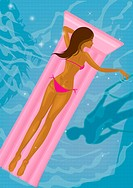 A woman floating on an inflatable raft and a mans shadow in the pool