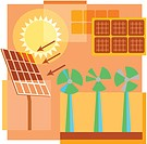 Montage illustration about sustainable power containing solar and wind energy