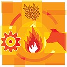 Montage illustration about methane reduction containing a cow, flames, grains and gears