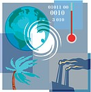 Montage illustration about global warming and climate change containing a thermometer, the world, a tree in hurricane winds and pollution