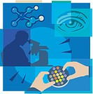 Montage illustration about nanotechnology containing an eye, molecules, and a scientist researching with microscope