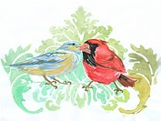 A couple of winter birds on an ornate background
