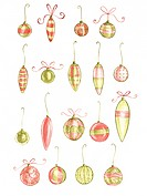 Rows of hanging Christmas bauble ornaments on white background
