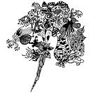Black and white bouquet of abstract floral patterns