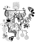 Black and white abstract and floral shapes