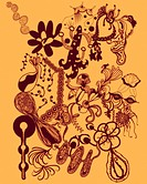 Orange abstract and floral shapes