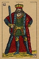 Vintage playing card showing a king with a sword
