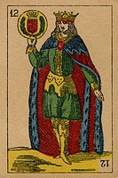 Vintage playing card showing a prince with a coat of arms