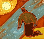 Illustration of a woman touching water in a stream, with the sun in the background