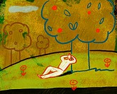 Illustration of a man lying down and relaxing under a fruit tree