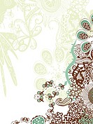 A green, brown and white floral decorative background