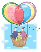 Family on a hot air balloon