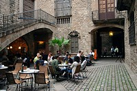 Courtyard cafe, Barcelona, Catalonia, Spain
