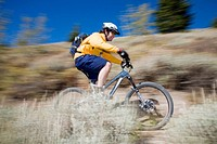 Man mt biking, Sun Valley, Idaho, USA