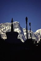 A silhouette of stupa at Tengboche monastery near Mount Everest Nepal