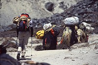 A woman trekking towards Everest base camp