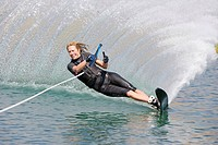 Woman waterskiing, Bellevue, Idaho, USA