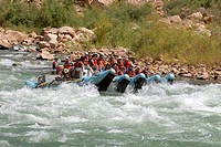 Rafting down the Colorado river through the giant waves of the Grand Canyon Arizona USA MR
