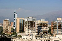 Downtown skyline from Cerro Santa Lucia. Santiago. Chile
