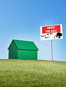 Small model house next to for sale sign (thumbnail)