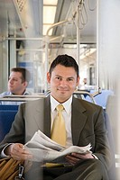 Businessman on train