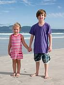Brother and sister at the beach (thumbnail)