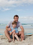 Father and son on beach