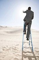 Man on ladder in the desert
