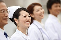 Smiling doctor and nurse