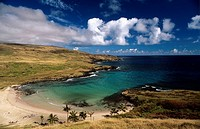 Panorama of Anakena beach, Easter Island, Chile