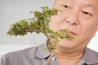 Close_up of a mature man looking at a plant