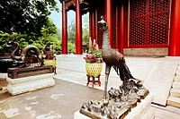Phoenix statue in front of a building, Summer Palace, Beijing, China