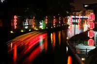 Reflection of Chinese lanterns in water, Nanjing, Jiangsu Province, China