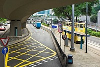 Road marking under an overpass, Des Voeux Road, Hong Kong Island, China