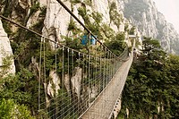 Rope bridge across a mountain, Shaolin Monastery, Henan Province, China