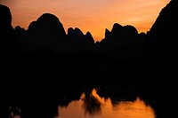 Silhouette of hills at dusk, Guilin Hills, Li River, Yangshuo, Guangxi Province, China
