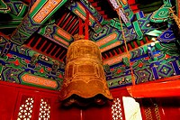 Low angle view of a bell in a temple, Beihai Park, Beijing, China